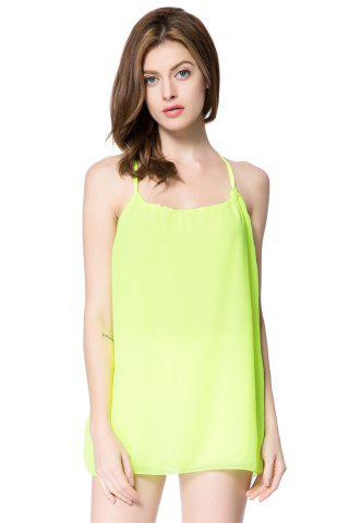 Chic Sexy Scoop Neck Sleeveless Backless Chiffon Women's Blouse GREEN M
