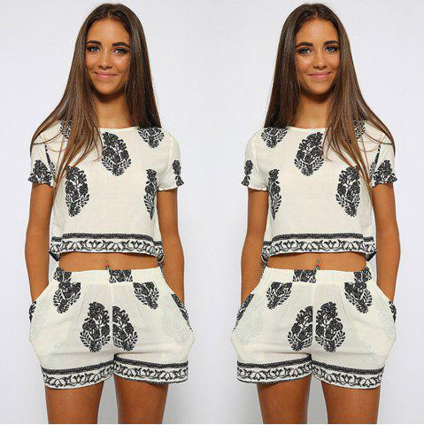 Outfits Stylish Jewel Neck Short Sleeve Print Suit For Women - S WHITE Mobile