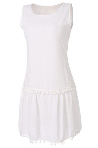 Outfits Simple Scoop Collar Sleeveless Solid Color Fringe Design Women's Dress - S WHITE Mobile