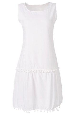 New Simple Scoop Collar Sleeveless Solid Color Fringe Design Women's Dress WHITE L