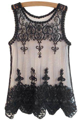Online Fashionable Scoop Neck Black Lace Embroidery Sleeveless Tank Top For Women
