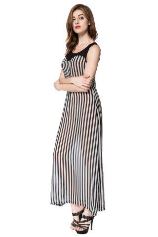 Fancy Stylish Scoop Neck Sleeveless Striped Voile Splicing Long Dress For Women - M AS THE PICTURE Mobile