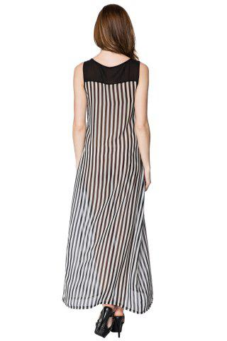 Trendy Stylish Scoop Neck Sleeveless Striped Voile Splicing Long Dress For Women - M AS THE PICTURE Mobile