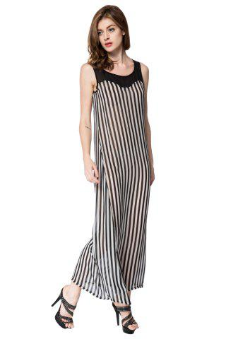 Trendy Stylish Scoop Neck Sleeveless Striped Voile Splicing Long Dress For Women - XL AS THE PICTURE Mobile