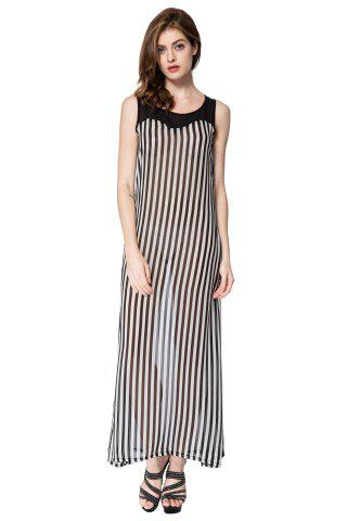 Fancy Stylish Scoop Neck Sleeveless Striped Voile Splicing Long Dress For Women AS THE PICTURE XL
