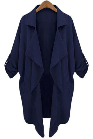 Large CADETBLUE Lapel Neck Long Sleeve Solid Color Trench Coat