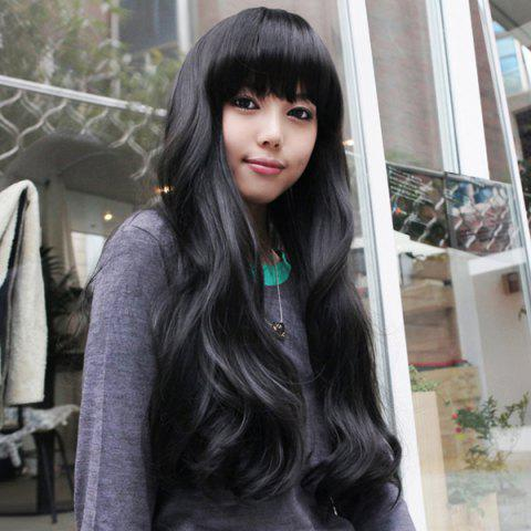 Outfits Elegant Long Wave Charming Full Bang Heat Resistant Synthetic Capless Wig For Women - BLACK  Mobile
