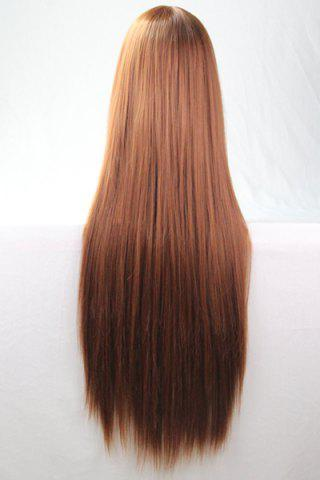 Fashion 80CM Charming Glossy Side Bang Long Straight Heat Resistant Fibre Versatile Cosplay Wig - BROWN  Mobile