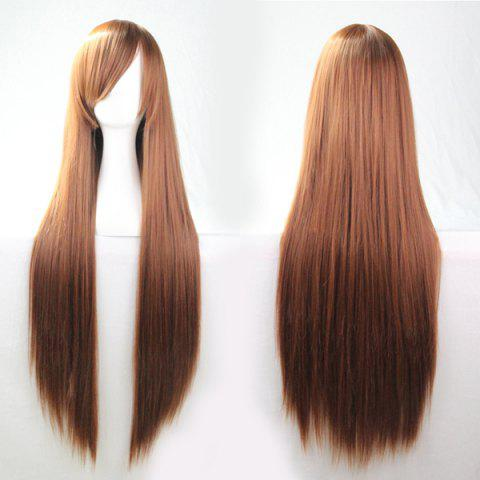 Shop 80CM Charming Glossy Side Bang Long Straight Heat Resistant Fibre Versatile Cosplay Wig - BROWN  Mobile