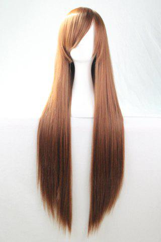 Unique 80CM Charming Glossy Side Bang Long Straight Heat Resistant Fibre Versatile Cosplay Wig - BROWN  Mobile
