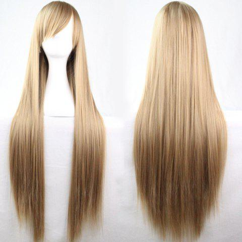 Discount 80CM Charming Glossy Side Bang Long Straight Heat Resistant Fibre Versatile Cosplay Wig