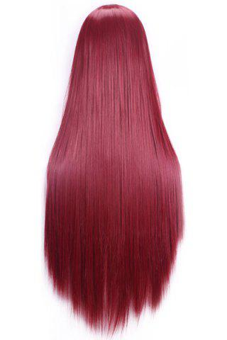 Chic 80CM Charming Glossy Side Bang Long Straight Heat Resistant Fibre Versatile Cosplay Wig - WINE RED  Mobile