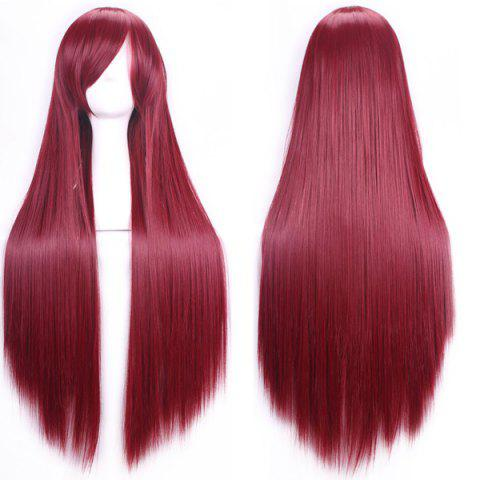 Cheap 80CM Charming Glossy Side Bang Long Straight Heat Resistant Fibre Versatile Cosplay Wig - WINE RED  Mobile