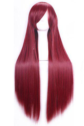Outfit 80CM Charming Glossy Side Bang Long Straight Heat Resistant Fibre Versatile Cosplay Wig - WINE RED  Mobile