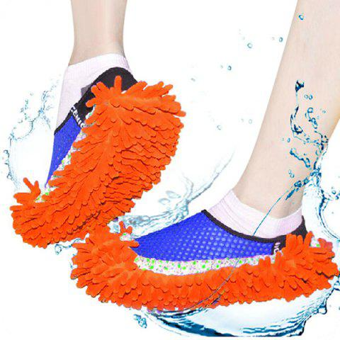 Trendy Practical Chenille Mop Slippers Dust Floor Cleaning Mopping Foot Shoes Home Pair Cleaner - RED  Mobile