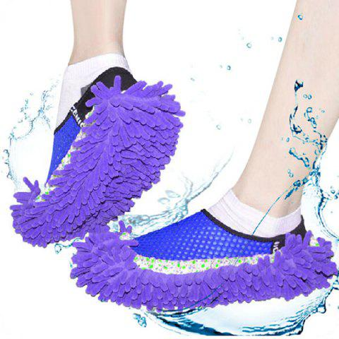 Fancy Practical Chenille Mop Slippers Dust Floor Cleaning Mopping Foot Shoes Home Pair Cleaner - BLUE  Mobile