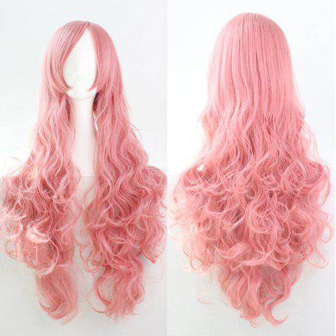 Unique 80CM Top Quality Side Bang Layered Shaggy Long Curly Heat Resistant Charming Cosplay Wig PINK