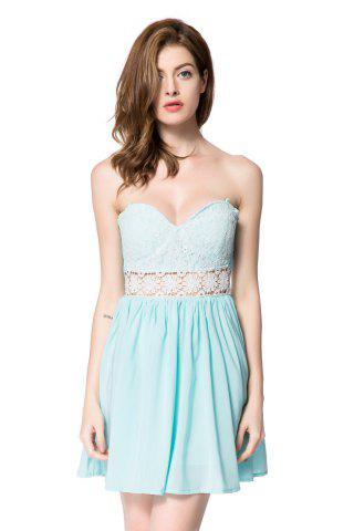 Trendy Strapless Lace Panel Maid of Honor Dress