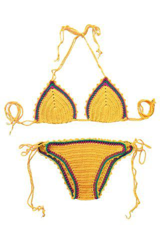 Discount Sexy Style Color Block Tie-Up Knit Bikini Set For Women YOLK YELLOW ONE SIZE(FIT SIZE XS TO M)