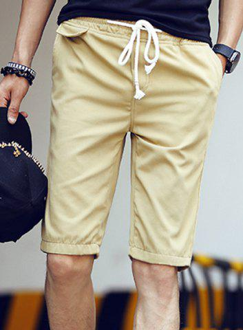 Fashion Lace-Up Candy Color Fitted Straight Leg Men's Cotton Blend Shorts - KHAKI - M