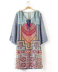 Retro Style Scoop Neck Print 1/2 Sleeve Dress For Women -