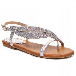 Stylish Rhinestones and Leaf Pattern Design Women's Flat Sandals - SILVER