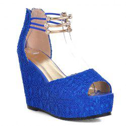 Sweet Lace and Metallic Design Women's Wedge Heel Sandals - BLUE