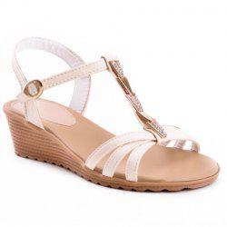 Sweet Rhinestones and Metallic Design Women's Sandals -