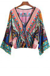 Ethnic Style V-Neck Color Block Print Tie-Up crop blouse Kimono Long Sleeve Kimono For Women -