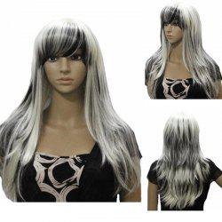 Harajuku Long Straight Side Bang Stylish Synthetic White Mixed Black Capless Wig For Women