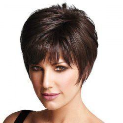 Capless Noble Elegant Natural Straight Full Bang 100 Percent Human Hair Women's Short Wig -