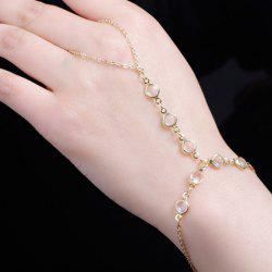 Gold Plated Faux Crystal Link Bracelet With Ring
