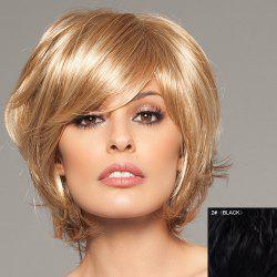Trendy Fluffy Side Bang Elegant Charming Short Straight Human Hair Capless Wig For Women - 02#