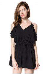 Cold Shoulder Tie Back V Neck Romper - BLACK