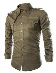 Fashion Uniform Style Shirt Collar Fitted Epaulet and Zipper Design Long Sleeve Polyester Shirt For Men