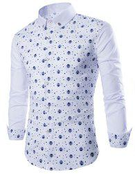 Fashion Shirt Collar Fitted Tiny Skull and Five-Point Star Print Long Sleeve Polyester Shirt For Men