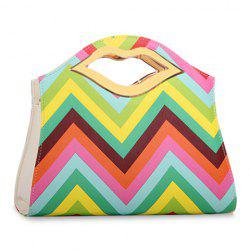 Graceful Color Stripes and Metallic Design Women's Tote Bag