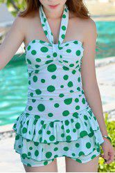Sweet Style Halter Polka Dot Print One-Piece Swimsuit For Women -