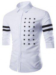 Fashion Shirt Collar Slimming Five-Point Star Stripe Print Half Sleeve Cotton Blend Shirt For Men