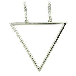 Chic Hollow Triangle Sweater Chain Necklace For Women - SILVER