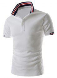 Refreshing Turn-down Collar Stripes Splicing Fitted Short Sleeves Men's Polyester Polo T-Shirt - WHITE