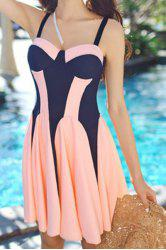 Sweet Push-Up Color Splicing One-Piece Swimsuit For Women