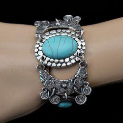 Bohemian Retro Style Turquoise Decorated Oval Floral Shape Bracelet