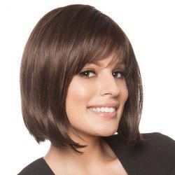 Trendy Side Bang Charming Noble Short Natural Straight Human Hair Women's Capless Wig -