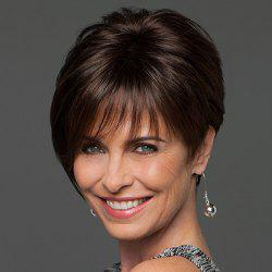 Trendy Side Bang Noble Sophisticated Short Straight Human Hair Women's Capless Wig -