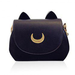 Sweet Moon Print and Ear Pattern Design Women's Crossbody Bag - BLACK