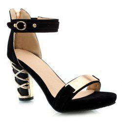 Stylish Metallic and Chunky Heel Design Women's Suede Sandals -