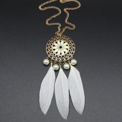 Vintage Faux Pearl Decorated Feather and Flower Shape Necklace For Women -