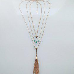 Chic Turquoise Arrow Tassel Sweater Chain Necklace For Women -