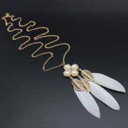 Leaf Faux Pearl Feather Pendant Sweater Chain